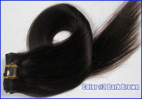 Droite Remy Clip en Extensions de cheveux humains 71,1 cm 7 120 g/set