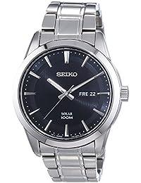 Seiko Herren-Armbanduhr XL Solar Analog Quarz Edelstahl SNE363P1