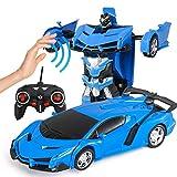 XINJIA, Giocattolo per Auto deformazione con Telecomando, Robot trasformabile per Auto, Auto deformata, rilevamento Gesto, trasformatore di Auto Robot, Giocattolo per Ragazzi, Idea Regalo Blu.