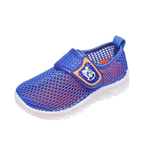 Dorical Unisex Babyschuhe Kinder Sommer Mesh Atmungsaktives Sportschuhe Jungen Mädchen Lauflernschuhe Freizeitschuhe Sneaker Krabbelschuhe mit Weiche Sohle Größe 21-38(Blau-1,38 EU)