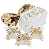 Hseamall Lot de 50 boîtes à dragées en forme de coussin pour mariage, fête, bonbons, bonbons