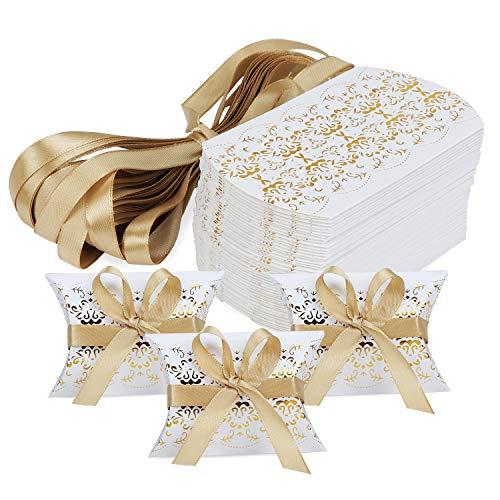 Hseamall - scatole per bomboniere, a forma di cuscino, confezione da 50 gold print