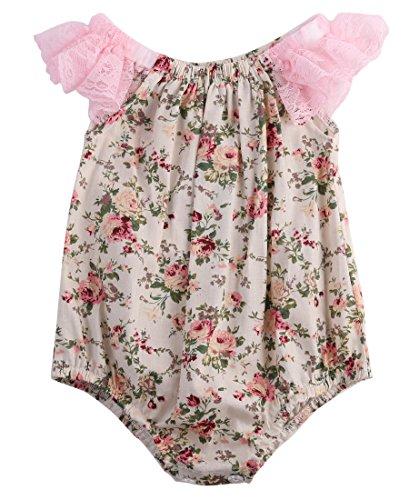 ZXCVBN Baby Mädchen Kleidung Sommer Blume Baby Mädchen Body 0-24 Mt Neugeborenen Toddle Bebes Einteilige Körper Anzug Kostüm,Rosa,4-6 ()