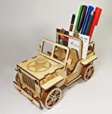 StonKraft Wooden 3D Puzzle Military Jeep - Desk Organizer, Pen Stand, Card Holder - Easy to Assemble