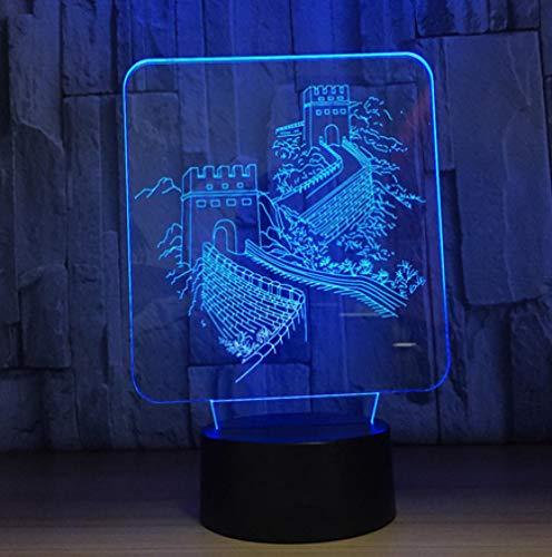 Joplc Led kreative 3d visuelle nachtbeleuchtung gebäude nachtlicht great wall modellierung usb schreibtischlampe wohnkultur geschenk