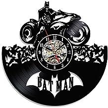 Hecho a mano decorativo Batman vinilo tema reloj de pared