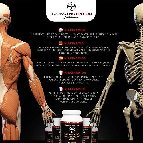 ★ Vitamin B3 ★ 500 mg Flush Free Nicotinsäureamid – 200 Stück (6+ Monatsvorrat) an Schnell Auflösende Kapseln, mit je 500mg an Hochwertigem Niacinamide-Pulver, von TUDIMO