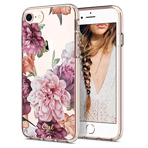 CYRILL Ciel by [Cecile Kollektion] 054CS24602 Kompatibel mit Apple iPhone 7/8 (2016) 054CS24602 - Rose Floral (transparent) - Florale Kollektion