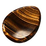CrystalTears Tiger's Eye Gemstone Carved Thumb Worry Stone Healing Crystal Pocket Palm Stone