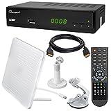 HB Digital DVB-T/T2 Set: Skymaster T90 HEVC DVB-T/T2 Receiver + Globo Z2 Plus DVB-T/T2, FM, DAB Aktive Antenne (Full HD, HEVC/H.265, HDTV, HDMI, SCART, USB 2.0 DVBT DVBT2 DVB-T2)
