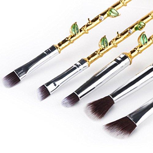 Mingfa Rose Makeup Brush Set, 5Pcs Makeup Brushes Powder Foundation Blush Contour Eyeshadow Blending Brushes