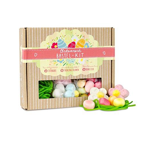 Osternest Bastel-Kit Box, Oster-Süßigkeiten in einer 140 Gramm hochwertigen Box, bastel Dir Dein eigenes Osternest, zum Basteln und Naschen -