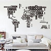 En inglés de mapa del mundo Zooarts extraíble Vinilo de pared