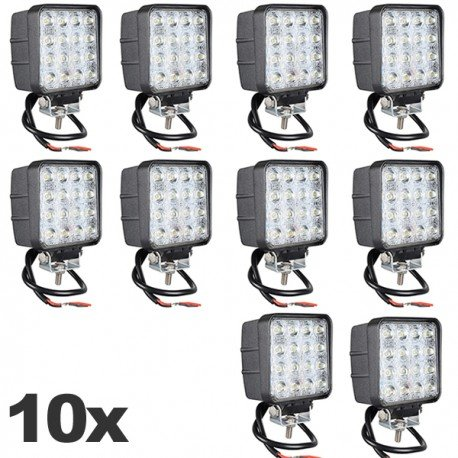 10 X FARO FARETTO LUCE LED QUADRATO 16 LED AUTO BARCA CAMION JEEP 12V 48W LED 6500K