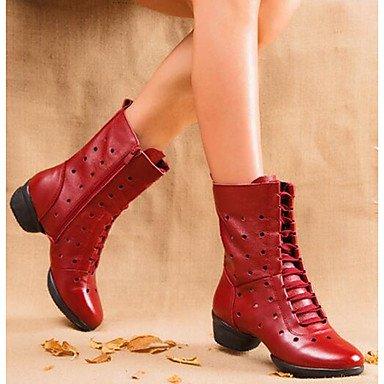 Damen Tanzschuhe Hohles Leder Leder Modern / Tanz Stiefel Stiefel / Split Sole Low Heel Schwarz / Rot / Weiß White
