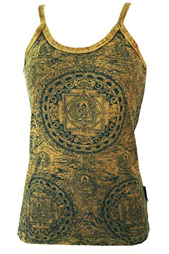 Top Yoga mandala mostaza/tops y camisetas, amarillo 38