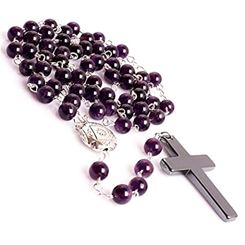 8MM Anglican Muslim Catholic Christian Episcopal Prayer Rosary Beads Bracelet Necklace for Men 32'' (Amethyst/Purple)