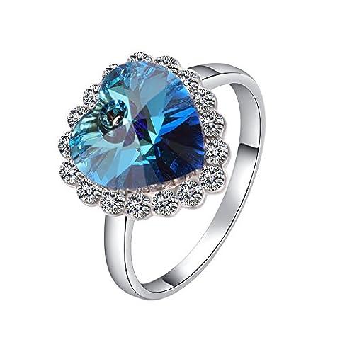 Yoursfs-Bague I love you to the moon coeur bleue Femme-18k plaqué Or blanc et Saphir de synthèse-Ocean Star-Cadeau pour Maman-T56