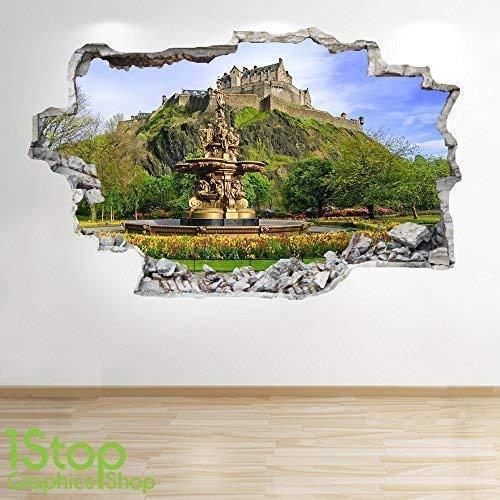 1Stop Graphics Shop Edinburgh Schloss Wandaufkleber 3D Optik - Schlafzimmer Lounge Schottland Wand Abziehbilder Z266 - Large: 70 cm x 111 cm