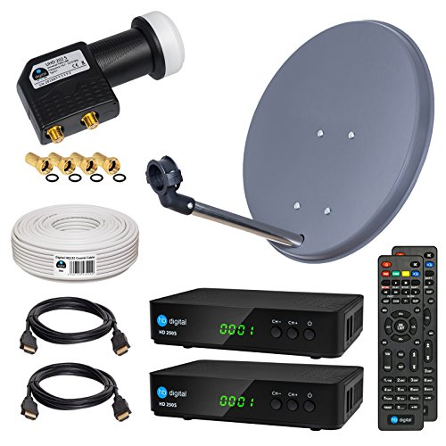 HB-DIGITAL Sat-Komplett-Set: Mini Sat Anlage 40cm Schüssel Anthrazit + UHD Twin LNB 0,1 dB + 20m Kabel + 2x HD 250S Receiver ( für HDTV geeignet )