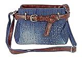 Cool Jeans Umhängetasche mit Gürtel und kleinen Steinchen/Nieten - Glitzereffekt - Maße ohne Henkel 22x17x6 cm - Damen Mädchen Teenager Tasche - Used Look Style (dunkelblau/JG)