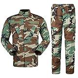 Zhiyuanan Herren Tactical Camouflage Uniform Anzug 2 Stück Sets Outdoor Jagd Trekking Camping Militär Kampf Wasserdichte Wandern Jacken + Camo Hosen Tarnmuster Kleidung Dschungel XS
