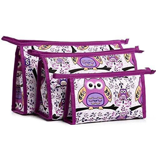 Tasche 3 Stück Set Kosmetik (HOYOFO Neues Design großes Volumen Wasserdichte Reise Praktische Organizer Kosmetik Tasche Make-up-Taschen Set von 3, Schwarz violett violett)