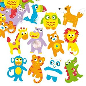 Funky Animal Foam Stickers Childrens Embellishments For Card Making Scrapbooking Collage Crafts Pack Of 105
