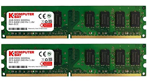 Komputerbay 8GB (2X4GB) DDR2 DIMM (240 PIN) 800Mhz PC2 6400 PC2 6300 8 GB - CL 5 -