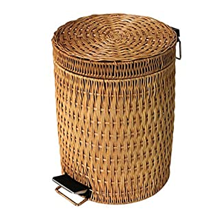 AILI Modern Round Grass Rattan Bathroom Foot Trash Can, Large Covered Living Room Wastepaper Basket (Size : 3l)