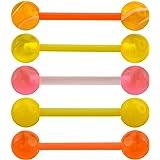 NA OUFER Piercing per lingua, piercing per lingua, 5 pezzi, in acrilico, 14 g, per lingue