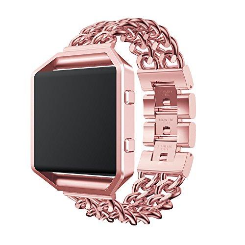Fitbit Blaze Armband, OverDose Ersatz-Edelstahl Kettenbänder Uhrenarmband Ersatzband mit Metallrahmen für Fitbit Blaze (Pink, 215mm)