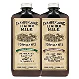 Chamberlain's Leather Milk - Straight Cleaner Nr. 2 & Furniture Treatment Nr. 5 - Set aus Reiniger & Conditioner für Ledermöbel - Naturbasis/ungiftig - Hergestellt in den USA - 2 Auftragepads - 0.18 L