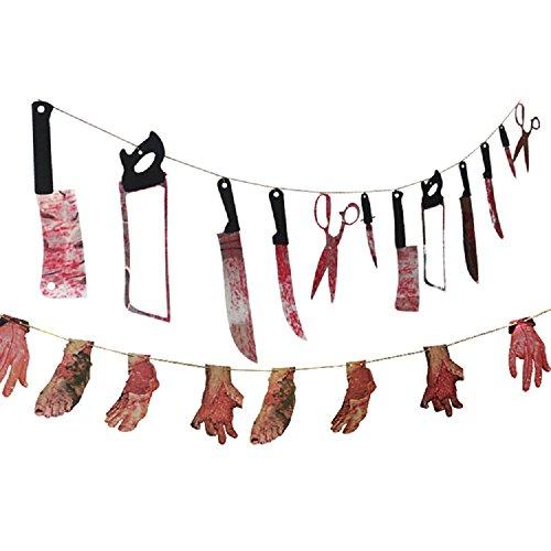 BLOODY Waffe Girlande und Bloody Gliedmaßen Girlande für Halloween zum Aufhängen Dekorationen