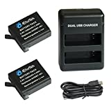 #1: EforTek 1300mAh Replacement Battery (2-Pack) and Dual USB Charger for Gopro AHDBT-401 and Gopro Hero4