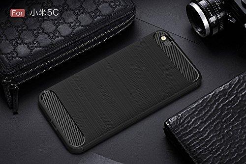 EKINHUI Case Cover Dünne und leichte, gebürstete Carbonfaser Robuste Rüstungsrückseiten-Abdeckungs-Stoßdämpfer-Stoßdämpfer-Stoßdämpfer-Abdeckung für Xiaomi 5c ( Color : Red ) Black