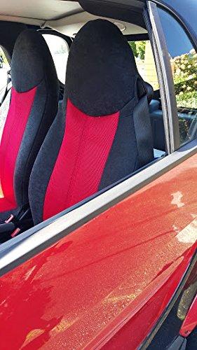 Zwei Autositzbezüge aus synthetischem und samt, 100% Passgenau, Sitzbezüge Sets, Farben Rot und Schwarz