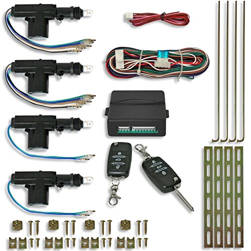 JOM 7104-2 Zentralverriegelung, Komplett Set, 4-türig inklusive 2 Klappschlüssel mit Funk, 4 Stellmotoren