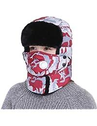 4c19e5877eea Unisexe Chapka Homme Femme Bonnet Russe Sport Ski Snowboard Equitation  Cagoule Chapka en Fausse Fourrure Thermique Chapeau…