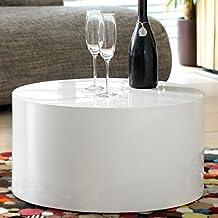 Couch Tisch Weiss Hochglanz Rund Aus MDF