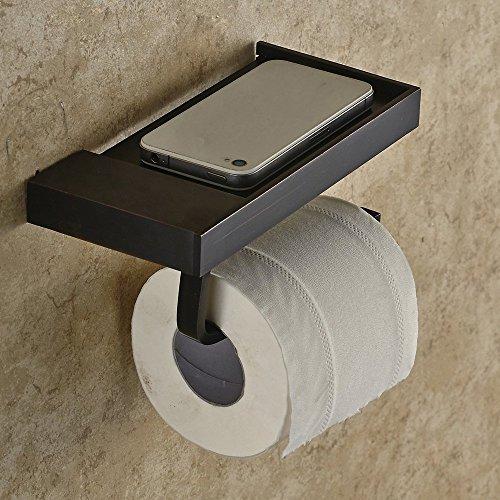 Leidener TM matt schwarz Toilettenpapier-Halter mit Cover Selbst Wand montiert, massives Messing, Öl eingerieben Bronze Finish
