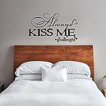 "mairgwall familia Love decor-always Kiss Me goodnight-master habitación vinilo adhesivo decorativo para cabecero de cama, vinilo, Customized-colors, 26""h x46""w"