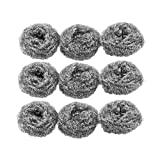 Magentoo(TM) 9 Pcs Silver Tone Stainless Steel Wire Kitchen Pot Scrubber