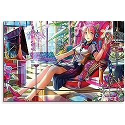 Online Anime Girl Wandbild 120x80cm XXL Bilder und Kunstdrucke auf Leinwand