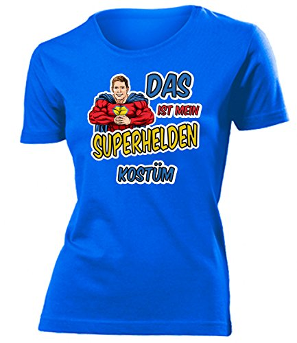 Superhelden Kostüm Kleidung 4481 Damen T-Shirt Frauen Karneval Fasching Faschingskostüm Karnevalskostüm Paarkostüm Gruppenkostüm Blau M