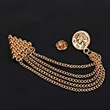 Marvel Traditional Sherwani Brooch with Rose Gold Chain for Men