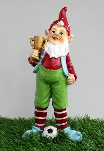 Europameister Gartenzwerg mit Pokal und Fussball Zwerg Garten Deko, aus Polyresin, wetterfest 25 cm