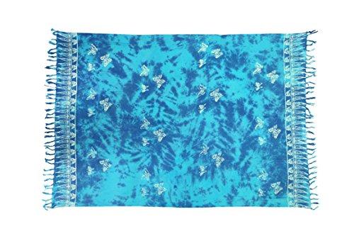 Ca 35 Luxus Batik Pareo Sarong Lunghi Dhoti Handtuch Strandtuch Schal Beach Tücher Ca 170cm x 110cm Original von EL GMBH Schmetterling Türkis