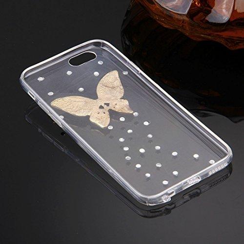 Wkae Case & Cover Pour iPhone 6 Plus &6s Motif plus diamant Encrusted Lunettes Cat Perle de Bell souple TPU étui de protection Quatrième de couverture ( SKU : IP6P4000T ) IP6P4000Q