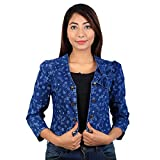 #10: Shrug in printed cotton stretchable denim with bow